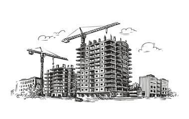 Urban construction, building sketch. City, house, town vector illustration