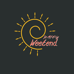 Happy weekend hand drawn lettering isolated on black background