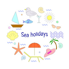 Unique vector concept f sea holidays with different summer and sea vacation elements. Illustration for t-shirts, banners,flayers and other types of business design.