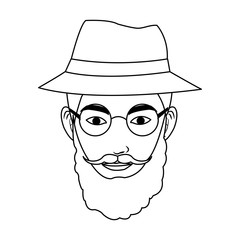 man with hipster style over white background. vector illustration