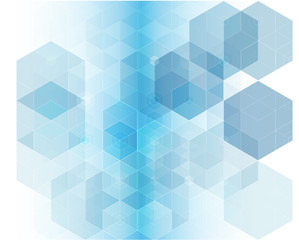 Vector geometric background with blue hexagons