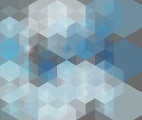 Vector abstract gray-blue background with hexagons
