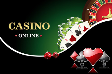 Vector casino poster. Includes roulette, casino chips, playing cards for poker. Design banner the website