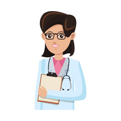 woman medical doctor cartoon icon over white background. colorful design. vector illustration