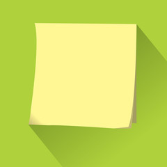 Empty Sticky paper note. Flat design with shadow