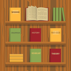Set of books and tutorials. Isometric flat vector.
