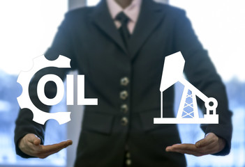 Oil industry drilling exploration service business concept. Fuel industrial gasoline production. Crude manufacturing success technology