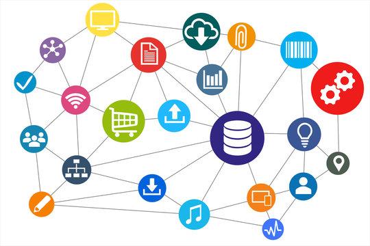 Netzwerk - Datenbank vernetzt mit der Welt. Kommunikation und Austausch in Industrie 4.0