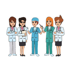 woman medical doctors and nurses cartoon icon over white background. colorful design. vector illustration