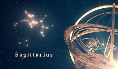 Zodiac Constellation Sagittarius And Armillary Sphere Over Blue Background