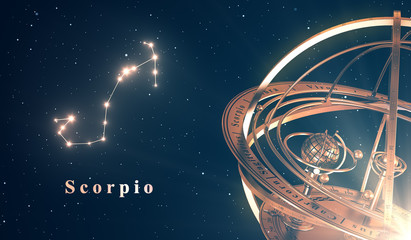 Zodiac Constellation Scorpio And Armillary Sphere Over Blue Background
