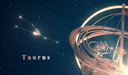 Zodiac Constellation Taurus And Armillary Sphere Over Blue Background