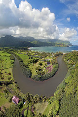 Aerial View - Hanalei River - Island of Kaua'i - Hawaii