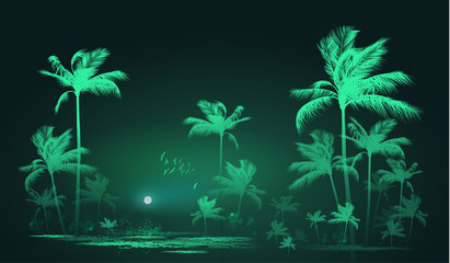 Tropical background with palm trees at nigh, vector illustration