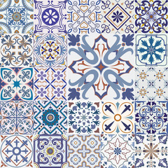Garden Poster Moroccan Tiles Big set of tiles background.