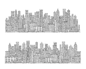 City skyline. Hand drawn illustration