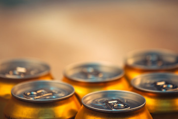 Beer cans, selective focus