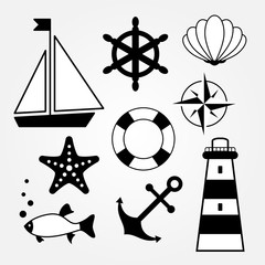 black-and-white sea symbols icons