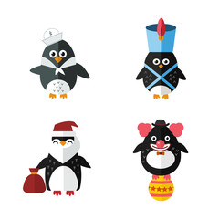 Penguin sailor santa vector animal character illustration.