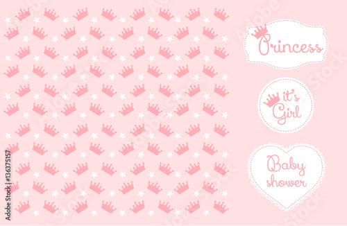 Pink Princess Crown Background Vector Illustration Baby Shower
