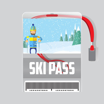 ski pass template with barcode in plastic holder with red ribbon.Man skiing in the forest