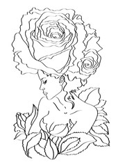 Flower - woman , rose , coloring  vector  , isolated on white background