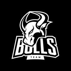 Furious bull sport mono vector logo concept isolated on dark background. Web infographic professional team pictogram.