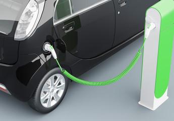 Automobile elettrica in carica ecologica