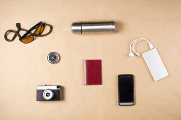 Basic equipment for travel flatlay