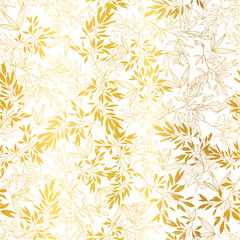 Vector Gold on White Asian Leaves Seamless Pattern Background. Great for tropical vacation fabric, cards, wedding invitations, wallpaper.