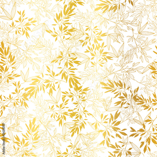 Vector Gold On White Asian Leaves Seamless Pattern
