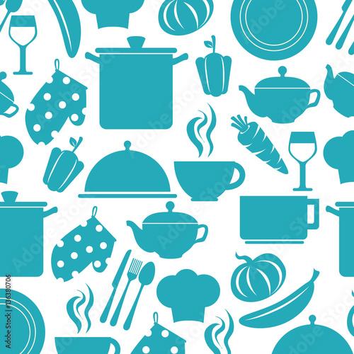 Kitchen Elements Pattern Background Vector Illustration Design Imagens E Vetores De Stock