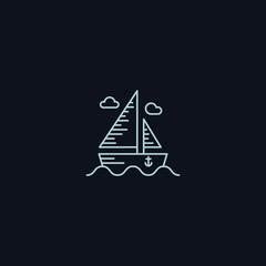 Line Symbol, Boat on sea, Sail concept, vector design element