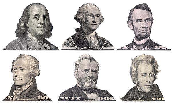 George Washington, Benjamin Franklin, Abraham Lincoln, Alexander Hamilton, Andrew Jackson, Ulysses Grant faces from US dollar bills isolated, United States presidents, money closeup