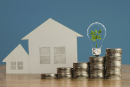 pile of money coins with small green tree, light bulb and  paper home,on wood and soft blue background, concept  in fiance, loan and buying