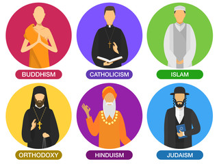 Set of religion ministers icons. culture symbol. traditional people cartoon style. buddhism, catholicism, islam, orthodoxy, hinduism, judaism religions. group of vector flat design illustration.