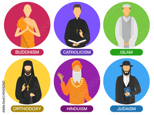 Set Of Religion Ministers Icons Culture Symbol Traditional People