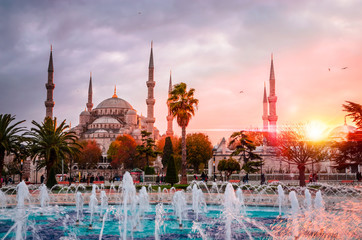 The Blue Mosque, (Sultanahmet Camii) in sunset, Istanbul, Turkey