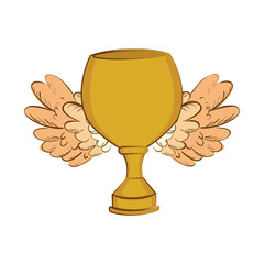 trophy winner with wings isolated icon vector illustration design