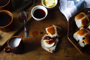 Easter breakfast with traditional hot Cross Bun and jam. From ab