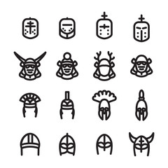 Helmets icon set. Medieval, Samurai, Roman, Greek and Viking helmets icon set. Vector.