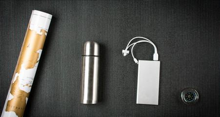 Travel equipment on dark background