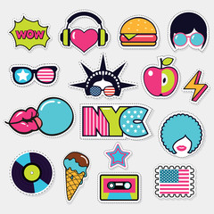 american trendy color patches, stickers and pins