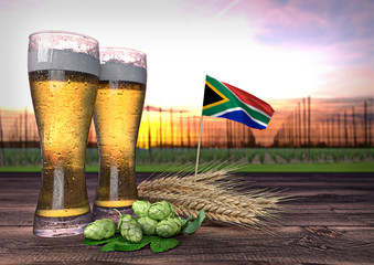 beer consumption in South Africa. 3D render