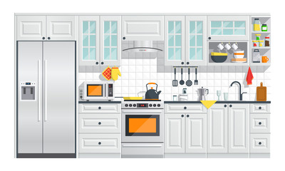Kitchen appliances with gray interior on white background. flat home art vector illustration. indoor. kitchen interior with stove, cupboard, dishes and fridge.