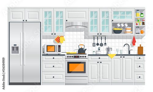 Kitchen Appliances With Gray Interior On White Background Flat Home