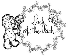 Outline round frame with shamrock contour and teddy bear. Vector clip art.