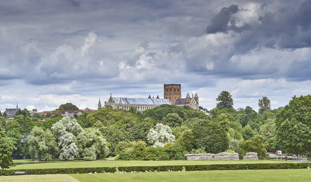 St Albans Cathedral from Verulam Park in summer