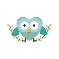 blue bird shaped heart icon image, vector illustration