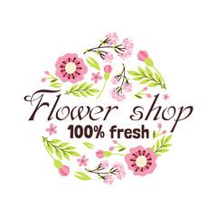 Floral shop badge decorative frame template vector illustration.